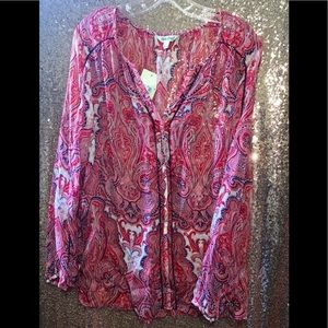 NWT Lucky Brand Sheer blouse
